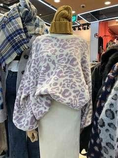 🚚 La Mocha~豹紋針織毛衣(粉紫色)