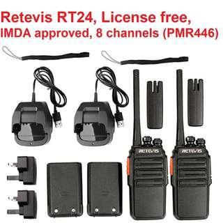 🚚 New arrival! 💔 $85/pair!!! License free IMDA Approved, 2PCS (1 pair) Retevis RT24 Walkie Talkie PMR446 USB Charger + 2 Singapore 3 pin adapter, VOX Scan Two Way Radio Ham Transceiver , outdoor, cycling, security agency, F&B, bar, restaurant,