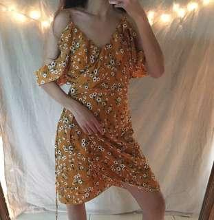 [XS-S] Off Shoulder Floral Sun Dress Wrap Self Tie