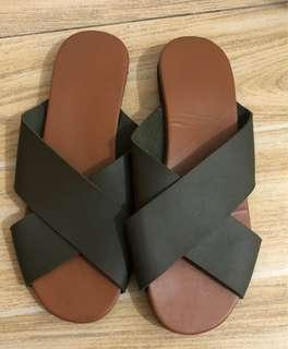 Cross Strap Leather Sandals