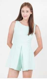 Ninth Collective Teagan Box Pleated Romper in Mint Size XS