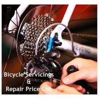 Bicycle Servicing & Repair Price List