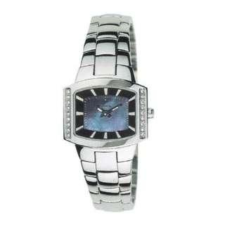 🚚 Pre-loved Breil ladies metal watch with dark blue Mother of pearl face and white silver dials & crystals