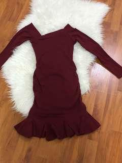 Maroon Peplum Dress