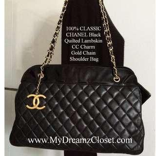 100% CLASSIC CHANEL Black Quilted Lambskin CC Charm Gold Chain Shoulder XL Bag