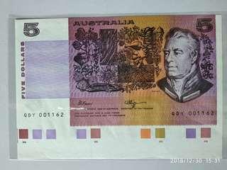 全新澳洲带有色樣$5紙幣(1990)年非常罕有