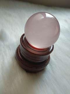 粉水晶球 4.0cm  連底座