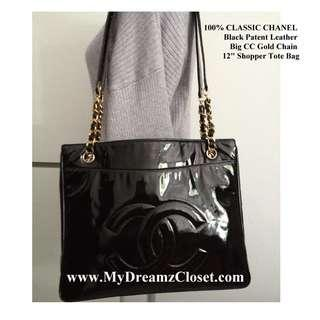 "100% CLASSIC CHANEL Black Patent Leather Big CC Gold Chain 12"" Shopper Tote Bag"