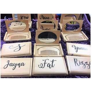 Personalized Wooden Compact Mirror