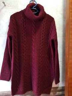 Forever21 Sweater Tunic Burgundy 樽領長身冷衫