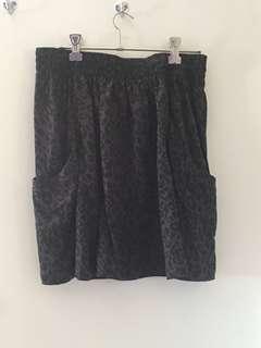 Charcoal Leopard Print Skirt