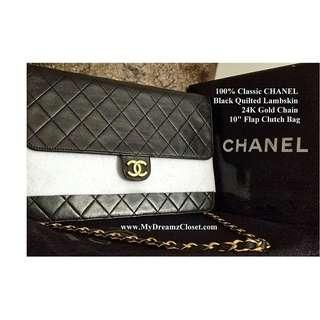 "100% Classic CHANEL Black Quilted Lambskin 24K Gold Chain 10"" Flap Clutch Bag"
