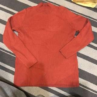 磚紅色 羅紋 毛衣 高領衫