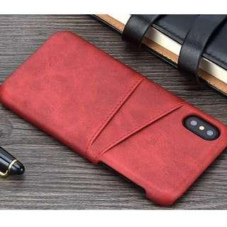 Red Iphone 7/8 plus phone cover with Pockets