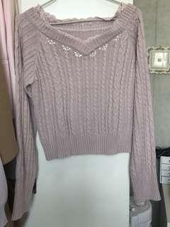 粉紅色蕾絲水鑽冷衫