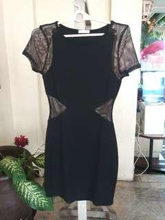 Soprano Black Mesh&Cotton Dress