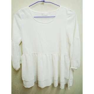 🚚 Pazzo 純白短版長袖雪紡洋裝