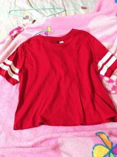 h&m red and white stripes crop top