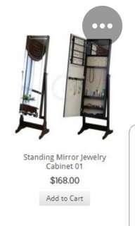 Adjustable standing mirror with storage in black