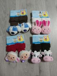 Brand New Baby Rattle Socks 0-12m - Assorted Designs SET B - 4 pairs @ $1.50 only!!!
