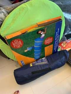 Outdoor tents and kids fun tunnel