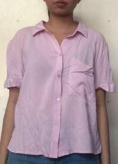 Pull and Bear Pink Cropped Button Down