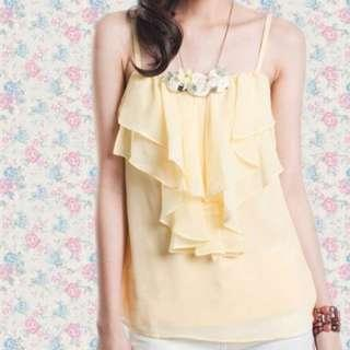 TCL Memoirs Ruffled Top in Pastel Yellow Size XS