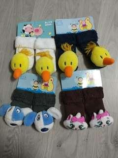 Brand New Baby Rattle Socks 0-12m - Assorted Designs SET D - 4 pairs @ $1.50 only!!!