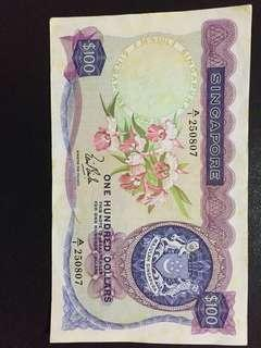 Singapore orchid series $100 A/1 note for sale!
