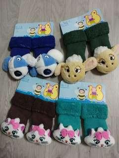Brand New Baby Rattle Socks 0-12m - Assorted Designs SET E - 4 pairs @ $1.50 only!!!