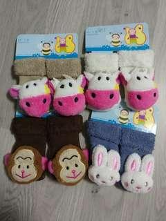 Brand New Baby Rattle Socks 0-12m - Assorted Designs SET F - 4 pairs @ $1.50 only!!!