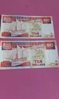 Old $10 ship series, 2pcs.