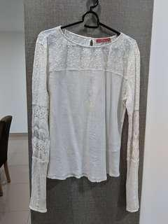 EDC Esprit White Lace Long Sleeve Blouse