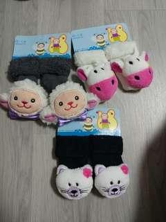 Brand New Baby Rattle Socks 0-12m - Assorted Designs - 3 pairs @ $1 only!!!