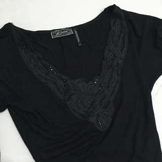 Guess Black Side Ruched Top Extra Small