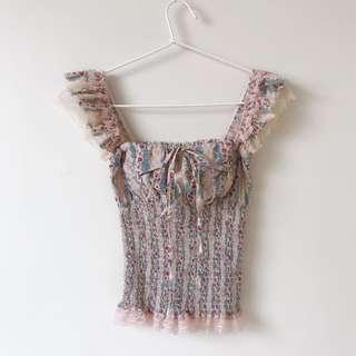 *NEW* floral lace top size XS