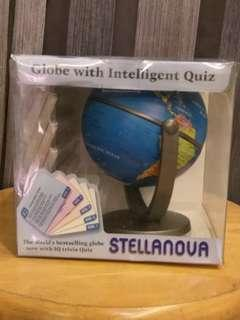 Earth globe with geographic quiz