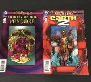 New 52 Futures End - Trinity of Sin #1 & Earth 2 #1 Comic Hologram Covers