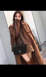 🚚 高端質感咖啡色時尚設計保暖長版大衣外套