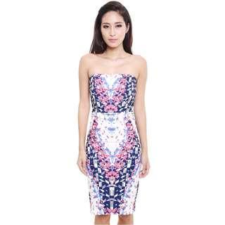 MDS shattered prints bandeau dress, prom dress, cocktail party dress