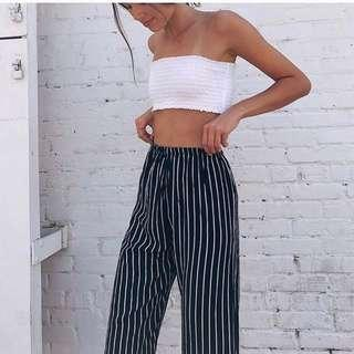 🚚 Brandy Melville Dark Blue Frankie Striped Pants
