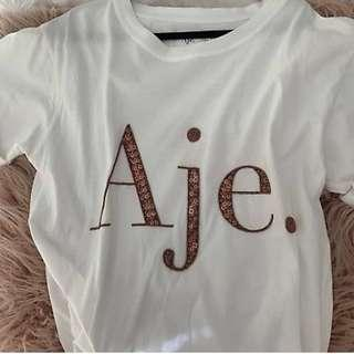 Aje Rose Gold Sequin Tee XS
