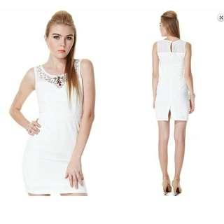 Tracyeinny Fendi Luxe Embellishment Dress in White