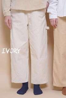MAMAMA 厚帆布象牙白色直筒褲(全橡筋腰)