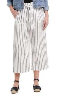 Wide Stripe linen Culottes Pants