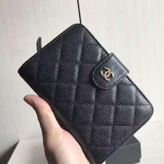 Authentic Chanel Caviar black in gold hardware