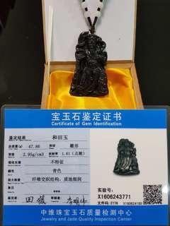 Jade Guan Gong pendant (和田玉)