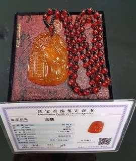 Jade pendant with chain (玉髓财神爷)