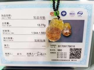 Pi Xiu gold rutilated quartz pendant