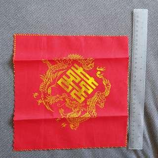 Bridal wedding red cloth handkerchief